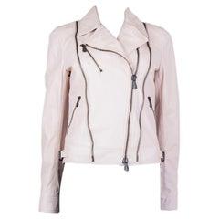 BOTTEGA VENETA pale pink leather BIKER Jacket 40 S
