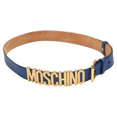 Moschino Blue Leather Logo Belt