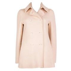 BOTTEGA VENETA cream white wool & cashmere Peacoat Coat Jacket 40 S