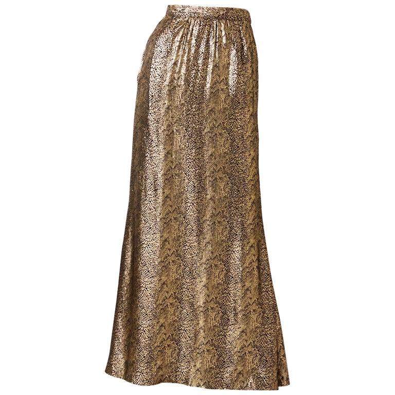 Yves Saint Laurent Rive Gauche Reptile Pattern Gold Lame Evening Skirt For Sale