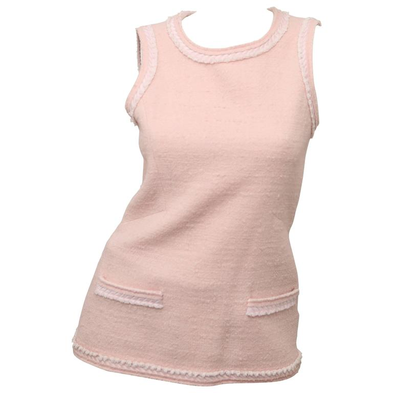 048bb2a514af9 Chanel Light Pink Sleeveless Top W  Faux Pockets For Sale at 1stdibs
