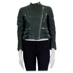 CELINE dark green leather BIKER Jacket 36 XS