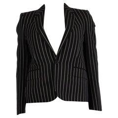CELINE black & white wool PINSTRIPE CLASSIC Blazer Jacket 34 XXS