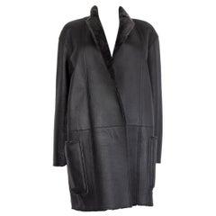 CELINE grey REVERSIBLE LEATHER & SHEARLING OPEN Coat Jacket 42 L