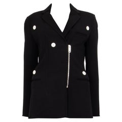 CELINE black wool BUTTON DETAILED Zip Front Jacket 40 M