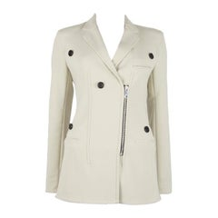 CELINE off-white wool BUTTON DETAILED Zip Front Jacket 38 S