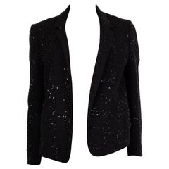 CHLOE black SHINY TWEED OPEN Blazer Jacket 36 XS