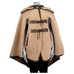 CHLOE beige SHEARLING Cape Coat Jacket M - L