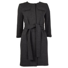 CHLOE charcoal grey wool BELTED Collarless KNIT Coat Jacket 36 XS