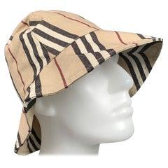 BURBERRY LONDON Beige Plaid Cotton Canvas Bucket Hats