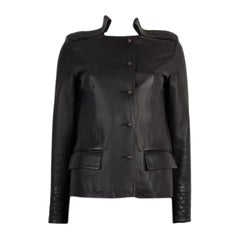 CHLOE black leather QUILT DETAILED Jacket 34 XXS