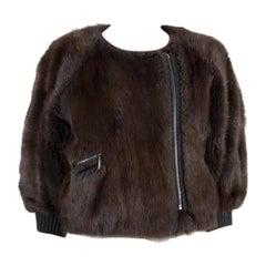 CHLOE dark brown CROPPE FUR COLLARLESS Jacket 40 M