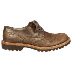 BRUNELLO CUCINELLI Size 8.5 Brown Perforated Suede Shoes