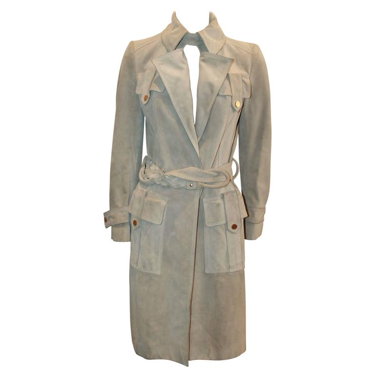 Gucci Beige Suede Trench Coat with Braided Belt - S