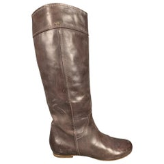 CHLOE Size 8.5 Brown Leather Contrast Stitch Knee High Julie Boots