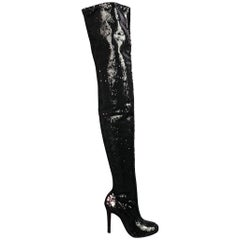 CHRISTIAN LOUBOUTIN Size 7 Black Sequined Over The Knee Round Toe Louise Boots
