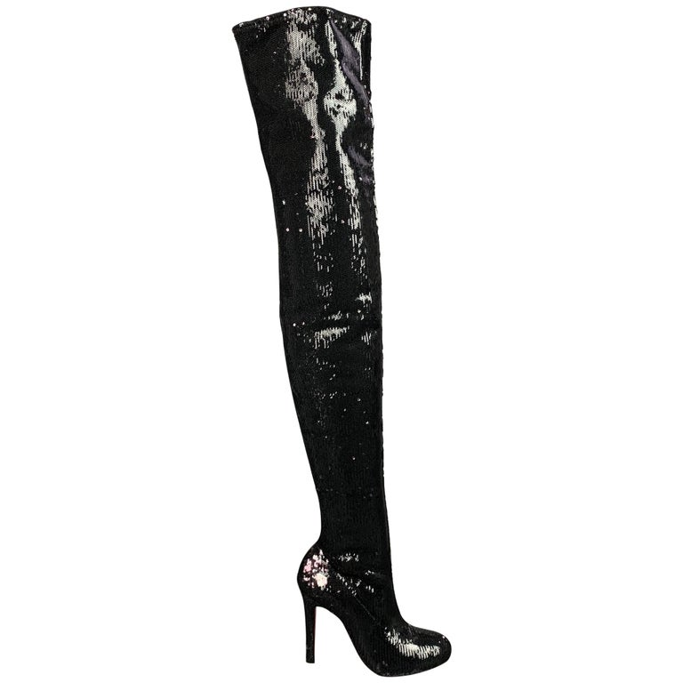 CHRISTIAN LOUBOUTIN Size 7 Black Sequined Over The Knee Round Toe Louise Boots For Sale