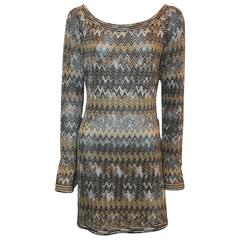 Missoni Vintage Earthtones Chevron Knitted Tunic-Style Dress - S - Circa 70's