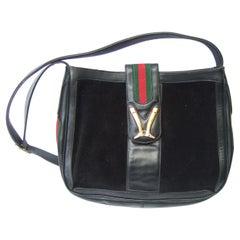 Gucci Italy Rare Black Suede Boot Emblem Shoulder Bag c 1970s
