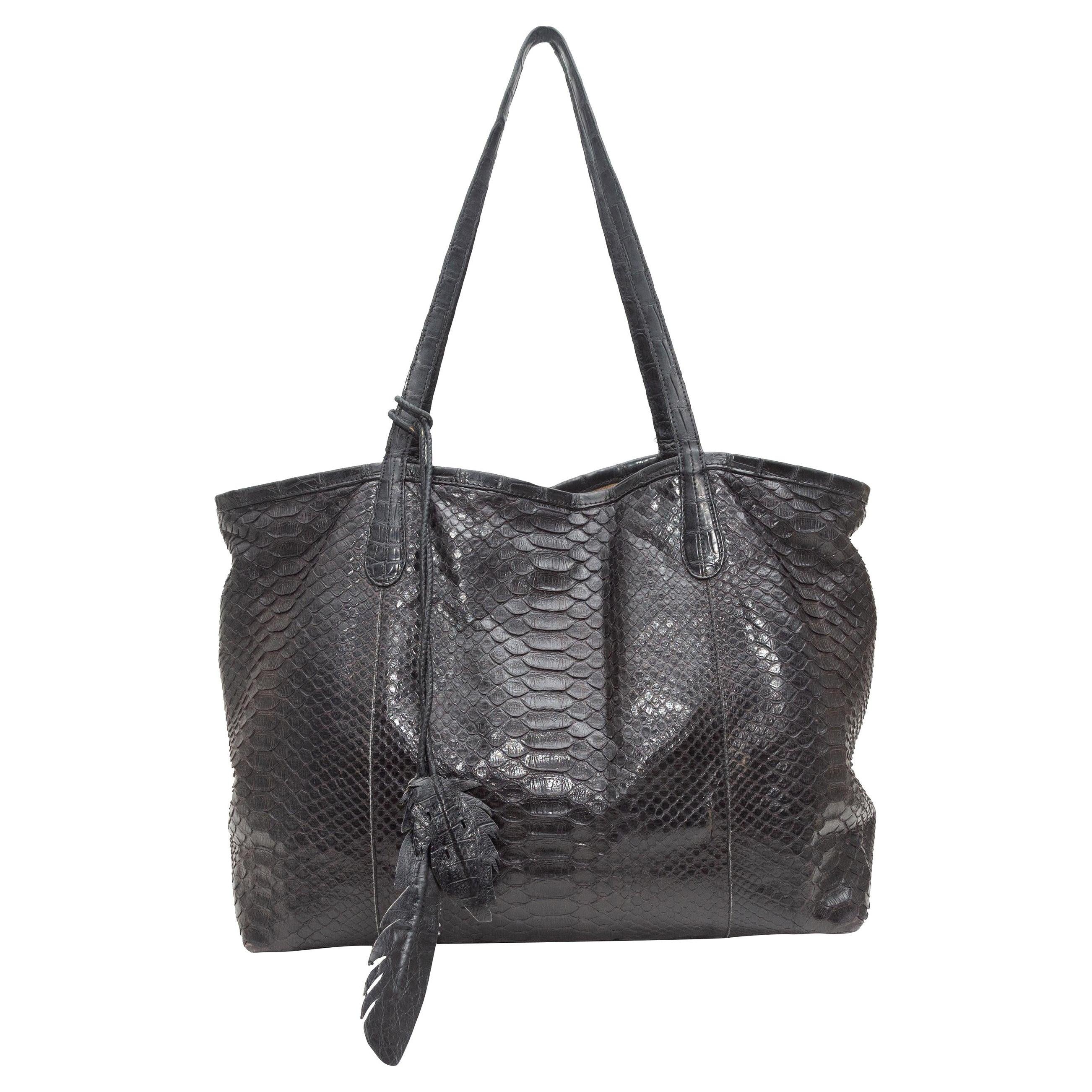 Nancy Gonzalez Black Python Tote Bag