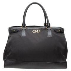 Salvatore Ferragamo Black Nylon & Leather Handbag