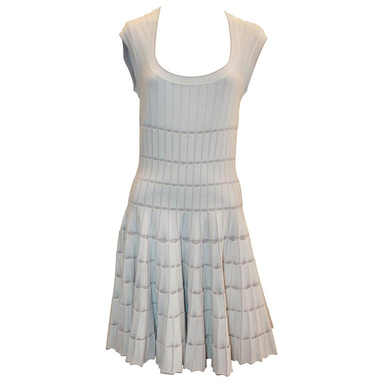 Azzedine Alaia White & Taupe Stretch Pleated Dress - 8