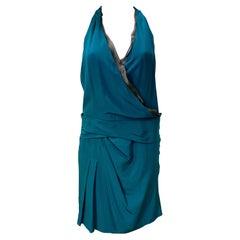 Gucci Teal, Silk Halter, Cocktail Dress