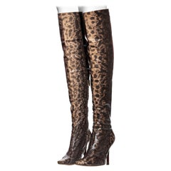 Gucci by Tom Ford beige and brown lizard over the knee boots, fw 1999
