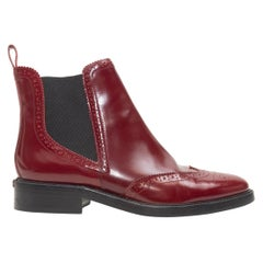 Burberry Brogue Maroon Ankle Boots