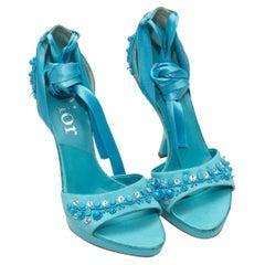 Christian Dior Aqua Beaded Ankle-Tie Heels