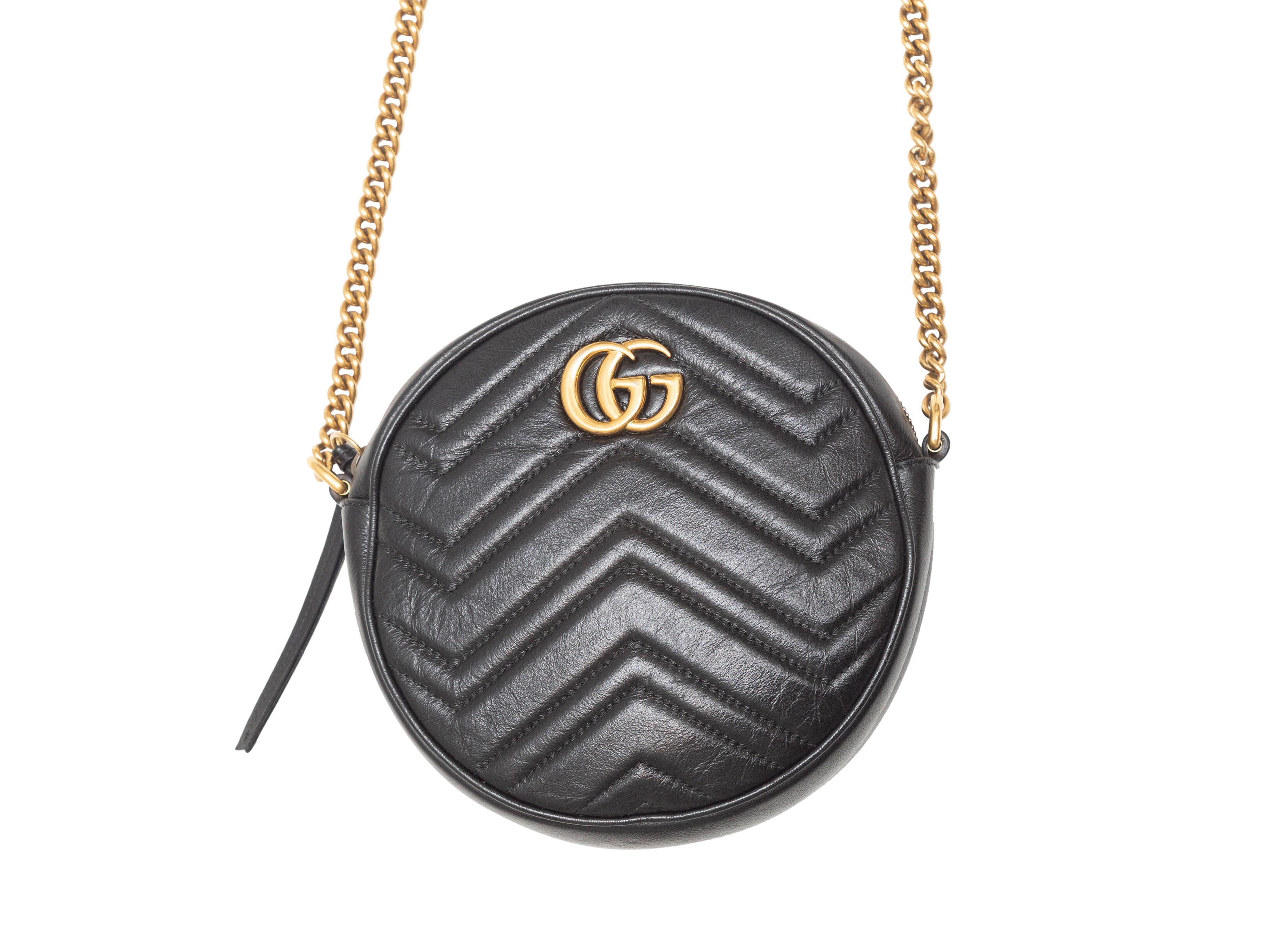 Gucci Black GG Marmont Mini Round Bag
