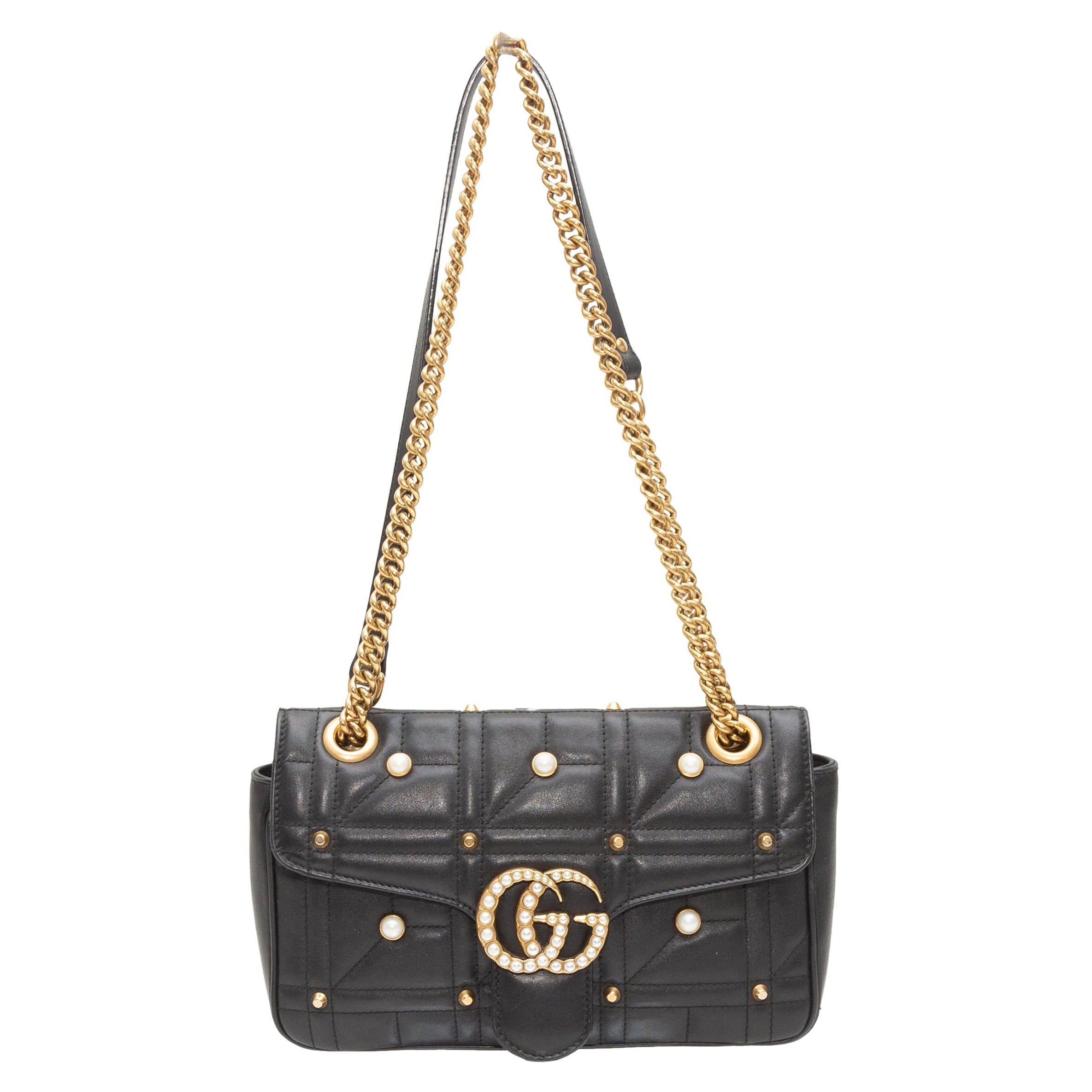 Gucci Black Small GG Marmont Matelasse Bag