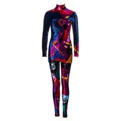 Gianni Versace multicoloured velvet mini dress and leggings set, fw 1992
