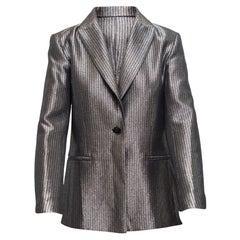Maje Silver Pinstriped Blazer