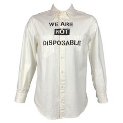 VIVIENNE WESTWOOD ANGLOMANIA Size L Off White Graphic Cotton Button Up Shirt