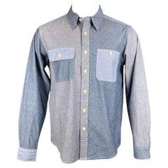 ENGINEERED GARMENTS Size M Light Blue Color Block Chambray Long Sleeve Shirt