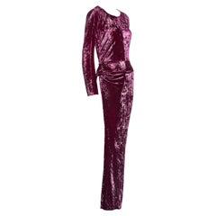 Junya Watanabe magenta crushed velvet one leg maxi dress, fw 1997