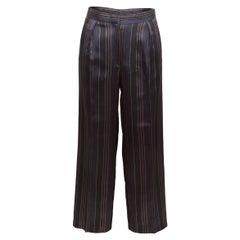 Dries Van Noten Black & Multicolor Satin Striped Trousers