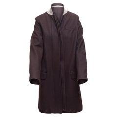A.L.C. Dark Purple Long Virgin Wool Coat