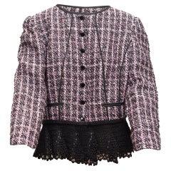Oscar de la Renta Pink & Black Resort 2017 Tweed Jacket