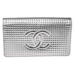 Chanel Metallic Silver Micro Chocolate Bar Leather CC Bifold Long Wallet