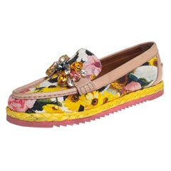 Dolce & Gabbana Multicolor Brocade Fabric Crystal Embellished Loafers Size 37