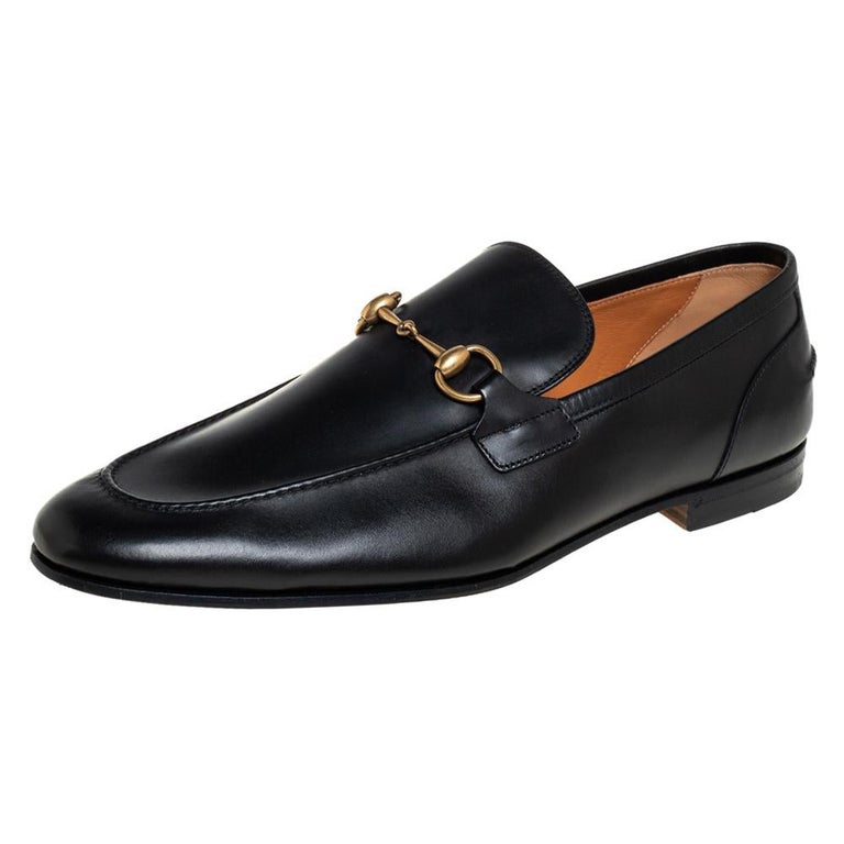 Gucci Black Leather Jordaan Loafers Size 46