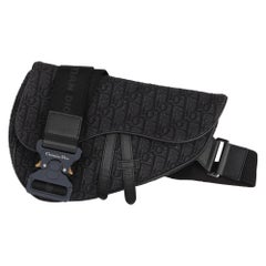 Christian Dior Christian Dior Black Oblique Monogram Denim Saddle Bag