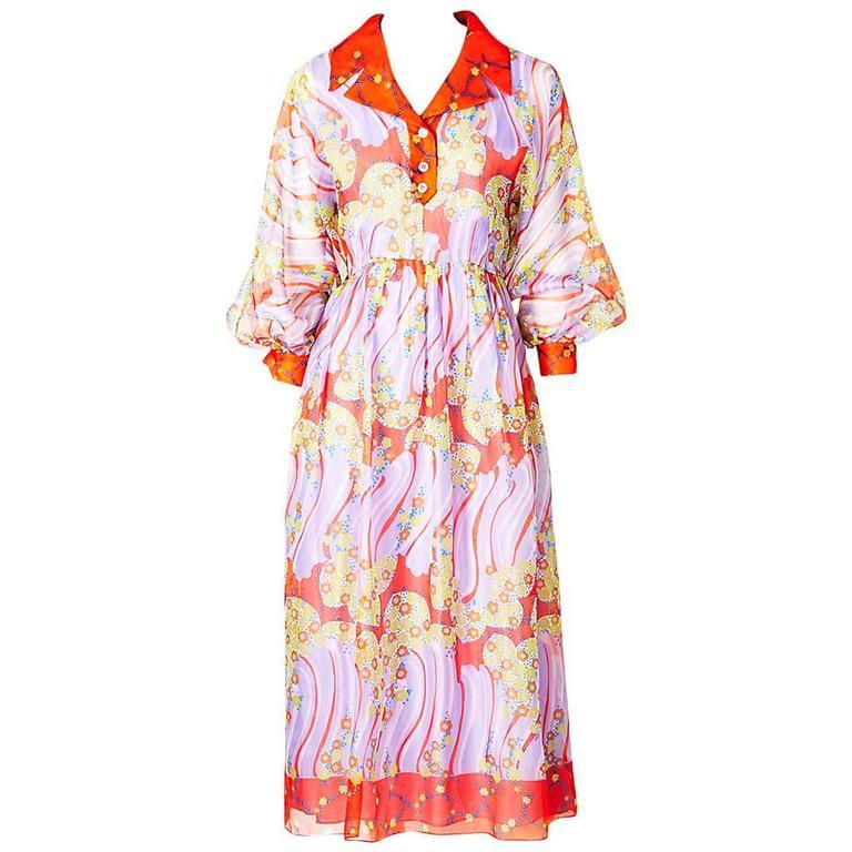 Oscar de La Renta Organza Shirt Dress 1970's For Sale