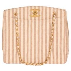 Chanel Beige & Brown Quilted Striped Linen Vintage XL Timeless Shoulder Bag