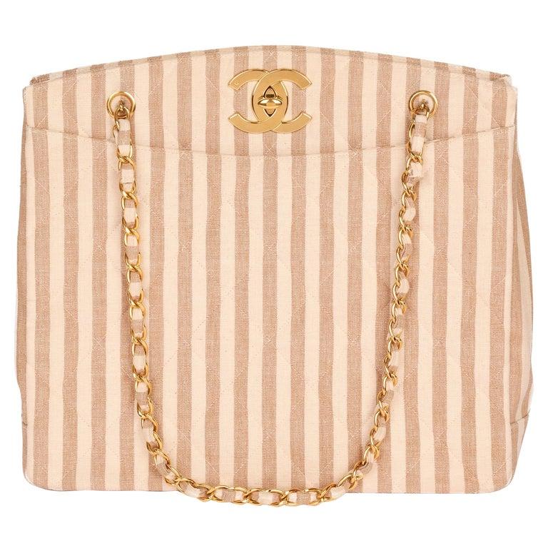 Chanel Beige & Brown Quilted Striped Linen Vintage XL Timeless Shoulder Bag For Sale