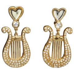 Vintage Yves Saint Laurent Ysl Heart Lyre Rhinestone Dangling Earrings