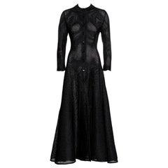 Azzedine Alaia black raffia button up a-line maxi dress, ss 1996