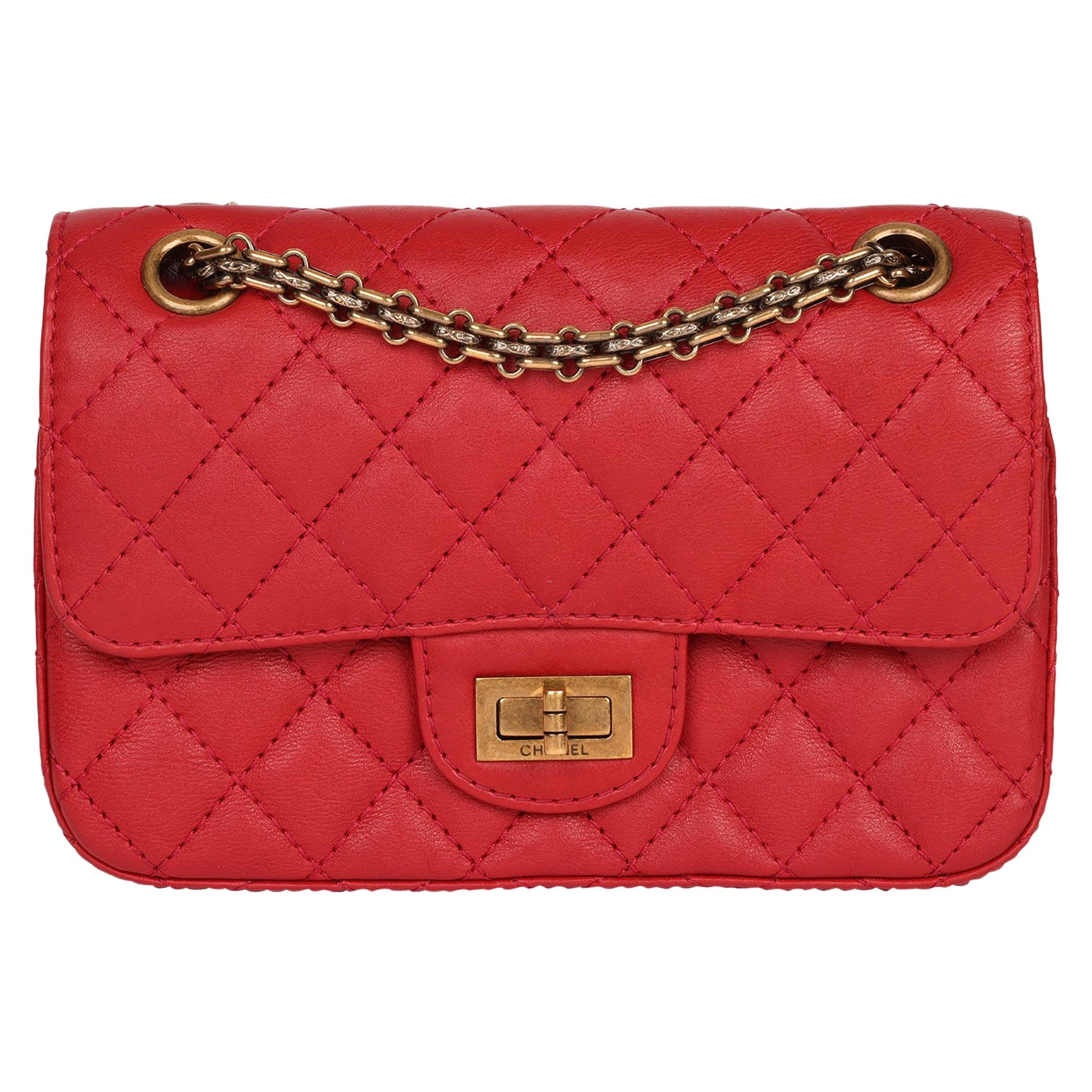 Chanel Red Quilted Calfskin Leather 2.55 Reissue 224 Double Flap Bag